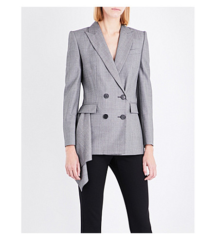 ALEXANDER MCQUEEN Drape-detail wool jacket (Black/grey