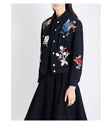ALEXANDER MCQUEEN Embroidered denim jacket (Black