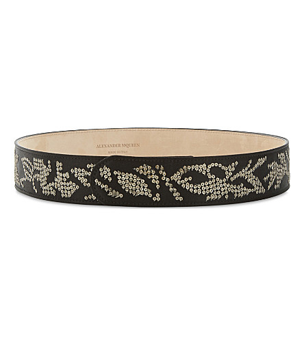 ALEXANDER MCQUEEN Sequin leather belt (Black+crystal