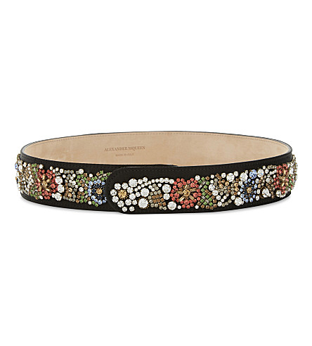 ALEXANDER MCQUEEN Embellished leather belt (Black+multicolor