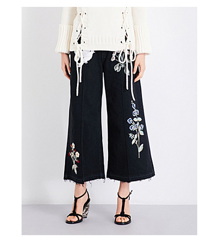 ALEXANDER MCQUEEN Embroidered denim culottes (Black