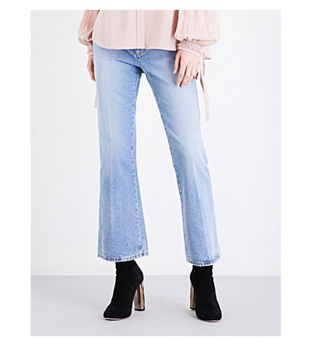 ALEXANDER MCQUEEN Kickback-flare cropped mid-rise jeans (Faded+blue