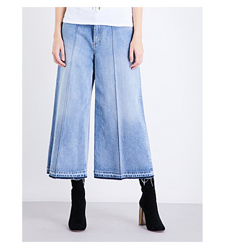 ALEXANDER MCQUEEN Wide-leg released-hem denim culottes (Faded+blue