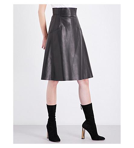 ALEXANDER MCQUEEN A-line leather skirt (Black