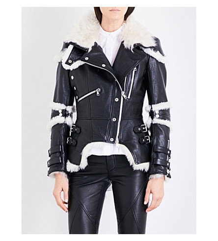 ALEXANDER MCQUEEN Biker-collar leather and shearling jacket (Black/ivory