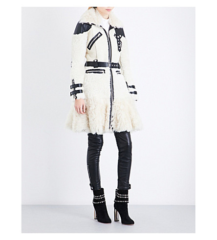 ALEXANDER MCQUEEN Shearling and leather coat (Ivory/black