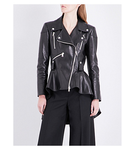 ALEXANDER MCQUEEN Peplum leather biker jacket (Black