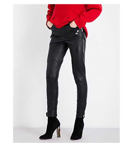 ALEXANDER MCQUEEN Skinny-fit leather biker trousers (Black