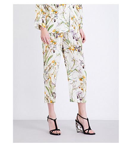 ALEXANDER MCQUEEN Wild Iris straight silk-crepe de chine pyjama trousers (Ivory+mix