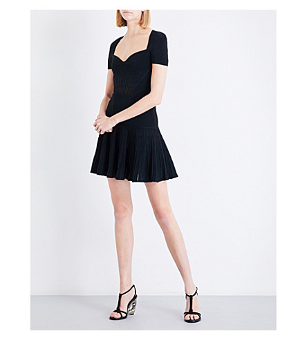 ALEXANDER MCQUEEN Sweetheart neckline metallic-knit mini dress (Black/black+metallic