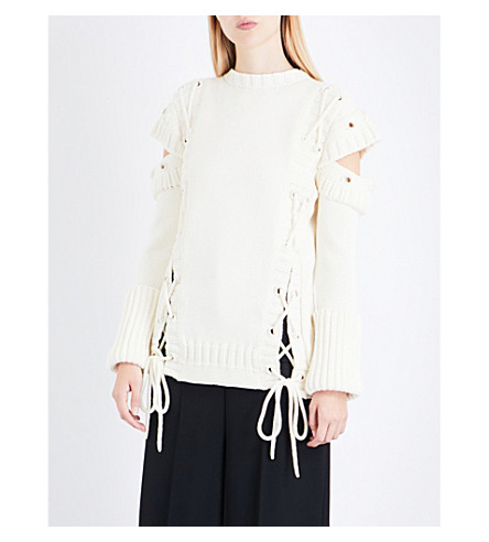 ALEXANDER MCQUEEN Lace-up wool jumper (Ivory