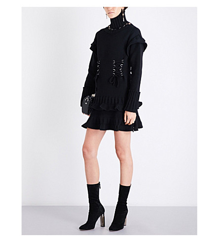 ALEXANDER MCQUEEN Turtleneck eyelet-detailed wool dress (Black