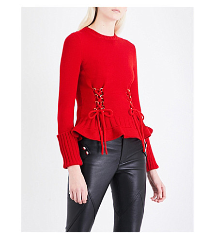 ALEXANDER MCQUEEN D-ring lace-up wool jumper (Scarlet+red