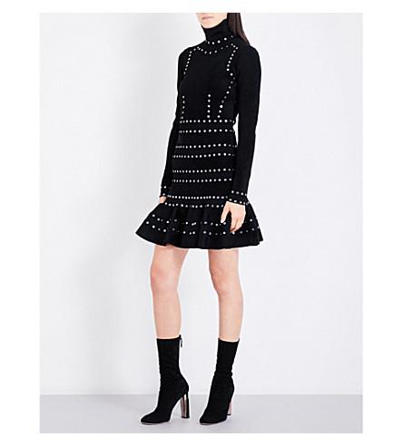 ALEXANDER MCQUEEN Eyelet-detail turtleneck knitted dress (Black