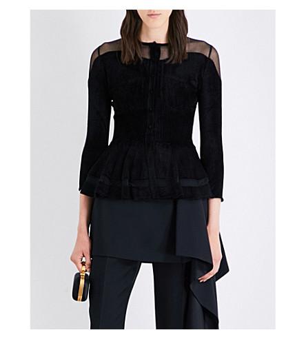 ALEXANDER MCQUEEN Peplum-hem stretch velvet and mesh cardigan (Black