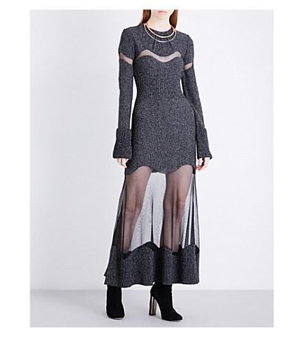 ALEXANDER MCQUEEN Sheer-detailed wool-boucle dress (Granite