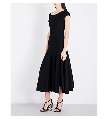 ALEXANDER MCQUEEN Asymmetric-panel flared wool-blend dress (Black