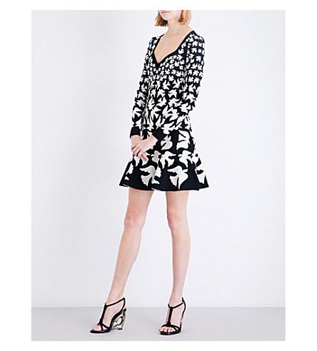 ALEXANDER MCQUEEN Swallow-intarsia stretch-knit mini dress (Black/ivory
