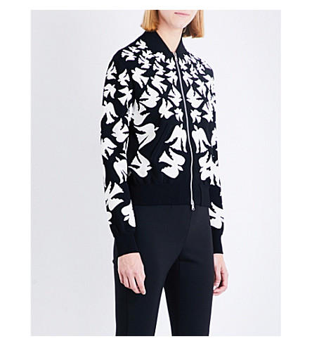 ALEXANDER MCQUEEN Swallow-intarsia knitted bomber jacket (Black/ivory