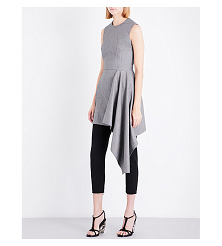 ALEXANDER MCQUEEN Drape-detail wool dress (Black/grey