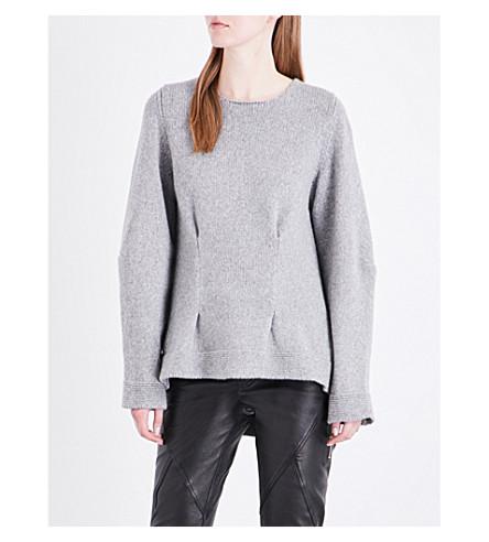 ALEXANDER MCQUEEN Pinch-detail cashmere jumper (Dk+grey+ml
