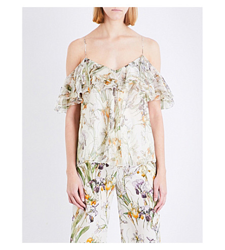 ALEXANDER MCQUEEN Wild Iris ruffled cold shoulder silk-georgette top (Ivory+mix