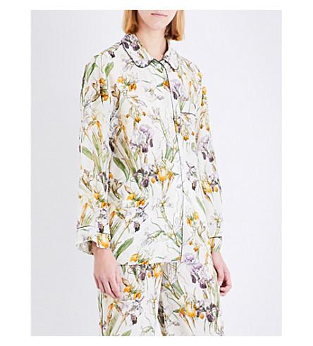 ALEXANDER MCQUEEN Wild Iris silk-crepe de chine pyjama shirt (Ivory+mix