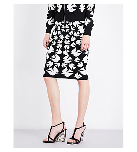ALEXANDER MCQUEEN Swallow knitted woven skirt (Black/ivory