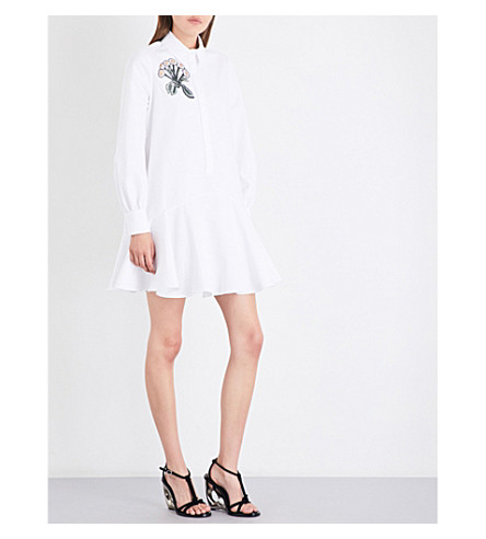 ALEXANDER MCQUEEN Floral-embroidered loose-fit cotton-piqué shirt dress (Optic+white