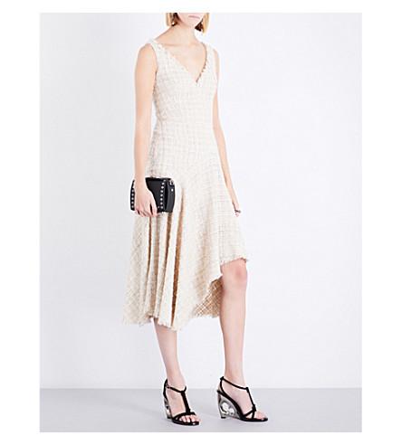 ALEXANDER MCQUEEN Sleeveless asymmetric-hem woven dress (Ivory