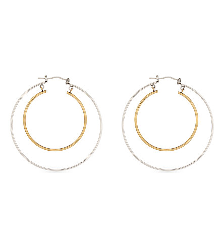 ALEXANDER MCQUEEN Double hoop polished metal earrings (0446+0448