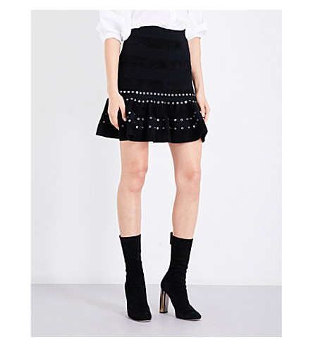 ALEXANDER MCQUEEN Eyelet-detailed flared high-rise knitted skirt (Black