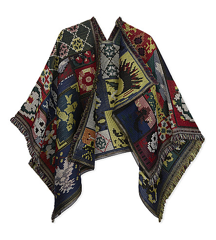 ALEXANDER MCQUEEN Cross stitch tapestry wool and silk cape (Black/bronze
