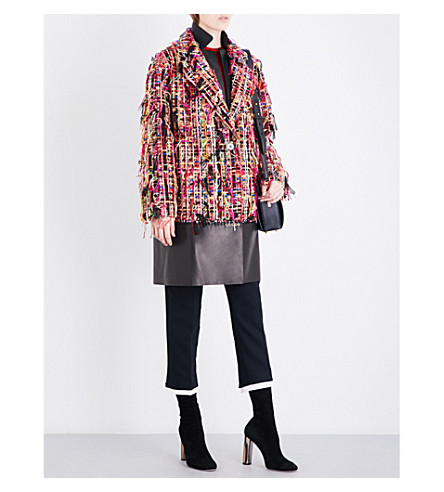 ALEXANDER MCQUEEN Notch-lapel tweed and leather coat (Black+mix