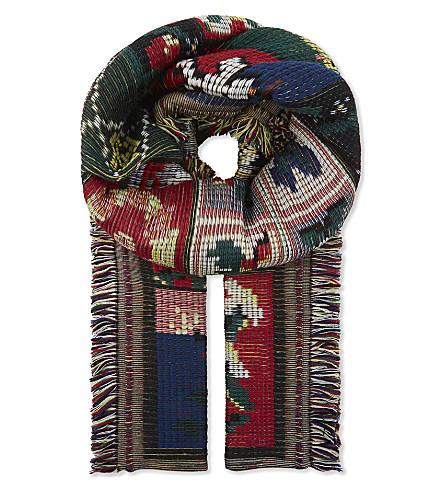 ALEXANDER MCQUEEN Cross stitch tapestry wool scarf (Black/bronze