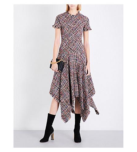 ALEXANDER MCQUEEN Handkerchief-hem tweed midi dress (Black+mix