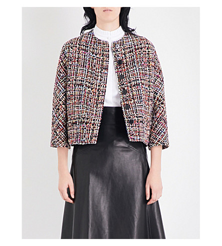 ALEXANDER MCQUEEN Cropped tweed jacket (Black+mix