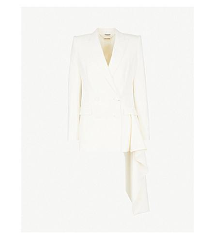 ALEXANDER MCQUEEN Double-breasted ruffled wool-blend jacket (Ivory