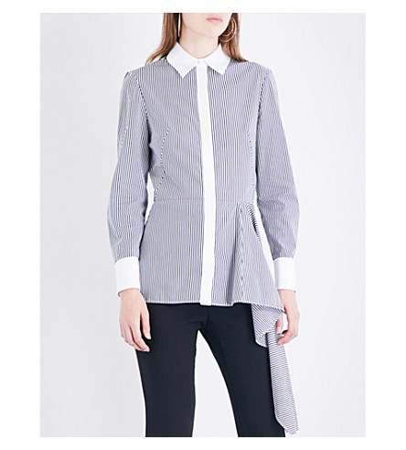 ALEXANDER MCQUEEN Asymmetric peplum cotton-poplin shirt (Black/white