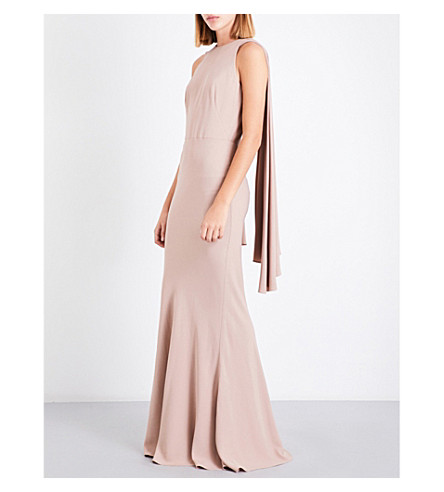 ALEXANDER MCQUEEN Cape-overlay draped crepe gown (Antique+rose