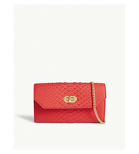 ALEXANDER MCQUEEN Snake-embossed leather wallet-on-chain (Lust+red
