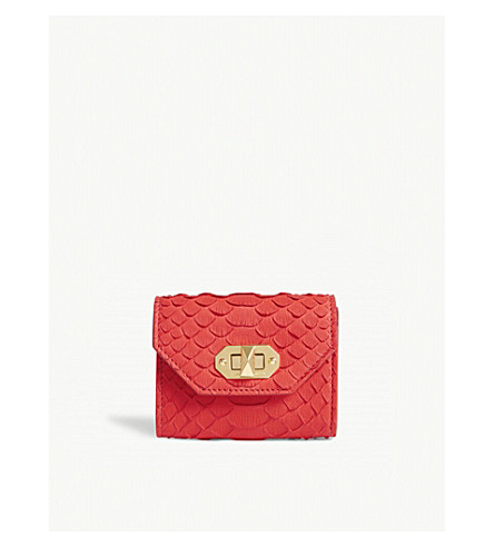 ALEXANDER MCQUEEN Snake-embossed leather mini purse (Lust+red