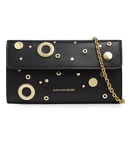 ALEXANDER MCQUEEN Eyelet leather wallet (Black