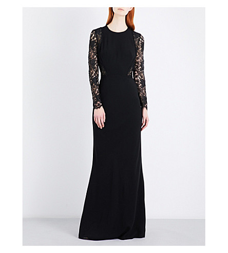 ALEXANDER MCQUEEN Lace-panel crepe gown (Black