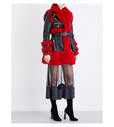 ALEXANDER MCQUEEN Biker-collar leather and shearling coat (Black/scarletred