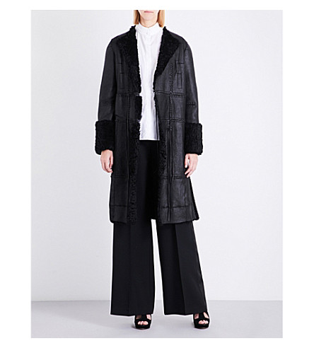 ALEXANDER MCQUEEN Tassel-detail leather and shearling coat (Black