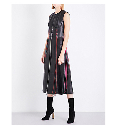 ALEXANDER MCQUEEN Whipstitched leather midi dress (Black/multicolour