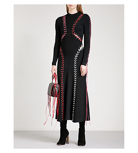 ALEXANDER MCQUEEN Braided fit-and-flare stretch-knit dress (Black/multicolour
