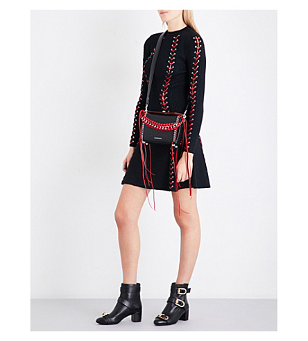 ALEXANDER MCQUEEN Lace-up bouclé-knit mini dress (Black/red