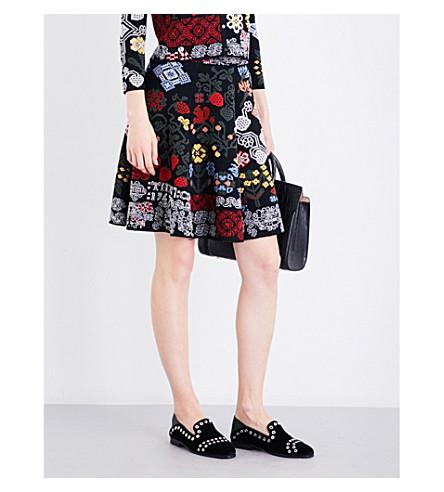 ALEXANDER MCQUEEN Floral-intarsia high-rise silk-blend skirt (Blackmulti